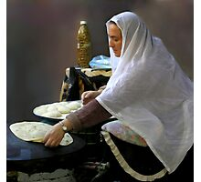 Baking pita bread Photographic Print