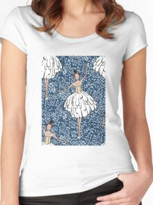 Swan Lake Snowstorm Women's Fitted Scoop T-Shirt