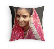 Girl in Pink, Delhi Throw Pillow