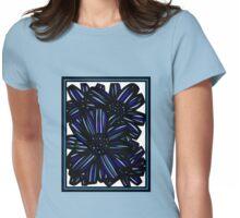 Elixir Flowers Blue White Black Womens Fitted T-Shirt