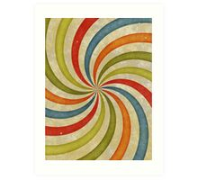 Psychedelic Retro Spiral Art Print