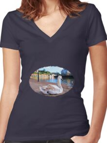 Young Adult Swan - Impressions Women's Fitted V-Neck T-Shirt