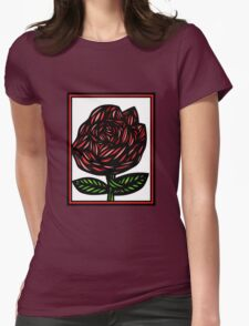 Splice Flowers Red Green White Womens Fitted T-Shirt