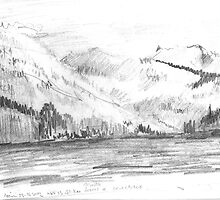 APRIL 25 - 26 - 2002 - HWY 23 40 KM NORTH OF REVELSTOKE BC(PENCIL DRAWING)(C2002) by Paul Romanowski