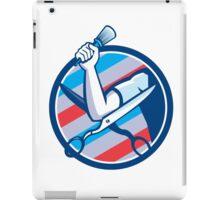 Barber Hand Brush Scissors Circle Retro iPad Case/Skin