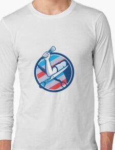 Barber Hand Brush Scissors Circle Retro Long Sleeve T-Shirt