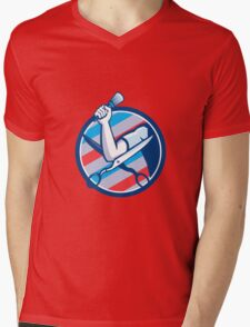 Barber Hand Brush Scissors Circle Retro Mens V-Neck T-Shirt