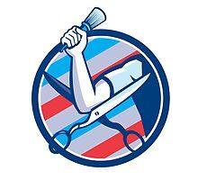 Barber Hand Brush Scissors Circle Retro by patrimonio