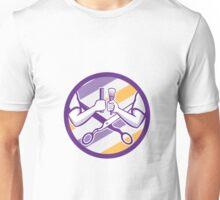 Barber Hand Comb Brush Scissors Circle Retro Unisex T-Shirt