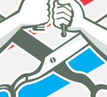 Barber Hand Comb Brush Scissors Shield Retro Sticker