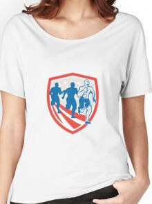 American Crossfit Runners USA Flag Retro Women's Relaxed Fit T-Shirt