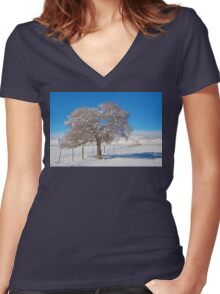 Winter Season On The Range Snow and Blue Sky Women's Fitted V-Neck T-Shirt