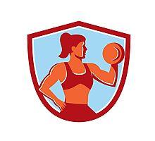 Female Lifting Dumbbell Shield Retro Photographic Print