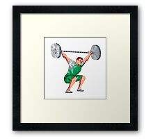 Weightlifter Lifting Barbell Low Polygon Framed Print