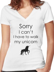 Sorry I Can't I Have To Walk My Unicorn Women's Fitted V-Neck T-Shirt