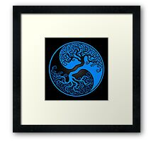 Blue and Black Tree of Life Yin Yang Framed Print