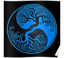Blue and Black Tree of Life Yin Yang Poster