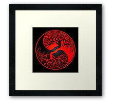 Red and Black Tree of Life Yin Yang Framed Print