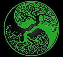 Green and Black Tree of Life Yin Yang by Jeff Bartels
