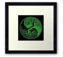 Green and Black Tree of Life Yin Yang Framed Print