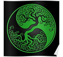 Green and Black Tree of Life Yin Yang Poster