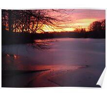 Winter sunset on Greenbelt Lake Poster