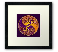 Purple and Yellow Tree of Life Yin Yang Framed Print