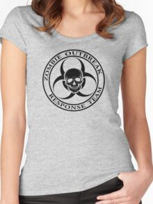 Zombie Outbreak Response Team w/ skull - light Women's Fitted Scoop T-Shirt