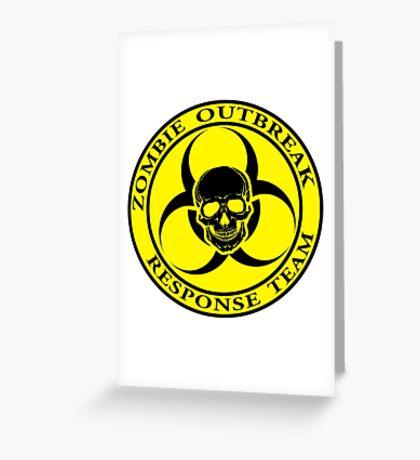 Zombie Outbreak Response Team w/ skull - yellow Greeting Card