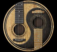 Old and Worn Acoustic Guitars Yin Yang by Jeff Bartels