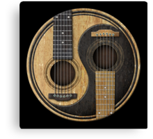 Old and Worn Acoustic Guitars Yin Yang Canvas Print