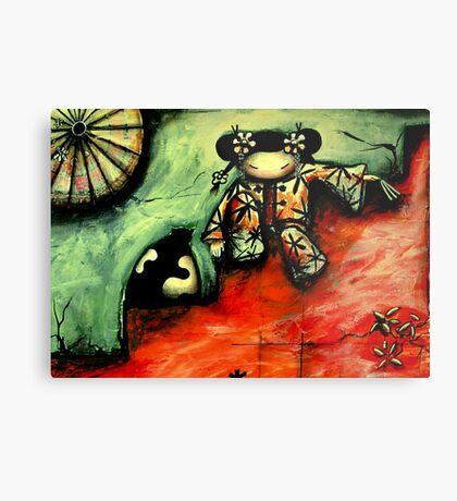 Girl on Red Wall Metal Print
