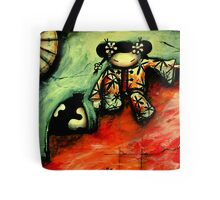Girl on Red Wall Tote Bag