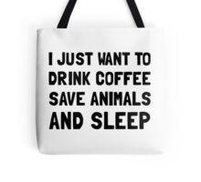 Coffee Animals Sleep Tote Bag