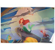Disney The Little Mermaid Princess Ariel Friends Flounder  Poster