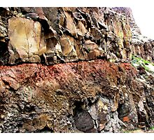 Injurated soil zone baked by lava flow above Photographic Print
