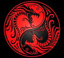 Yin Yang Dragons Red and Black by Jeff Bartels