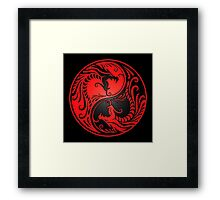 Yin Yang Dragons Red and Black Framed Print