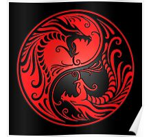 Yin Yang Dragons Red and Black Poster