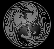 Yin Yang Dragons Gray and Black by Jeff Bartels