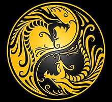 Yin Yang Dragons Yellow and Black by Jeff Bartels