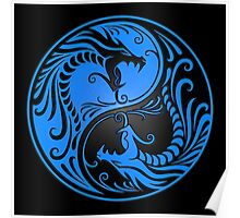 Yin Yang Dragons Blue and Black Poster