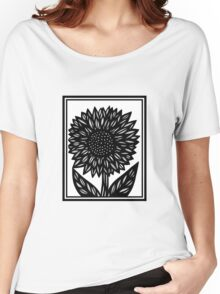 Cyaneous Flowers Black and White Women's Relaxed Fit T-Shirt