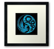 Blue and Black Dragon Phoenix Yin Yang Framed Print