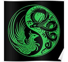 Green and Black Dragon Phoenix Yin Yang Poster
