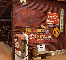 Route 66 Garage and Pump by Frank Romeo
