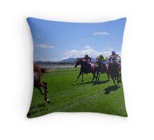 Pink Silks race Throw Pillow
