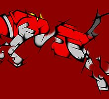 Red Voltron Lion Cubist by PartyMoth59