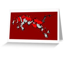 Red Voltron Lion Cubist Greeting Card