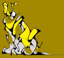 Yellow Voltron Lion Cubist by PartyMoth59